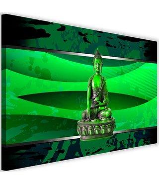 Schilderij Boeddha abstractie, 2 maten, groen Premium print