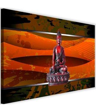 Schilderij Boeddha abstractie, 2 maten, rood/oranje, Premium print