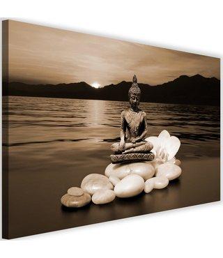Schilderij Boeddha in natuur, 2 maten, beige, Premium print