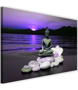 Schilderij Boeddha in natuur, 2 maten, paars, Premium print