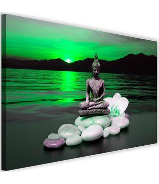 Schilderij Boeddha in natuur, 2 maten, groen, Premium print