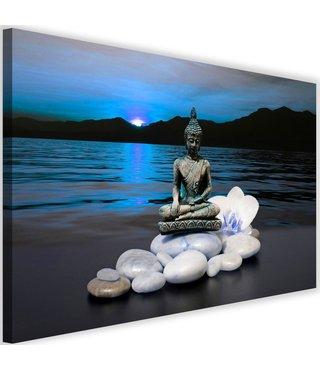 Schilderij Boeddha in natuur, 2 maten, blauw, Premium print