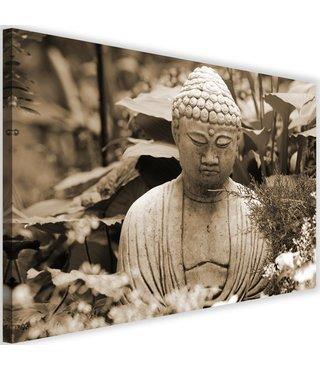 Schilderij Denkende boeddha, 2 maten, beige, Premium print
