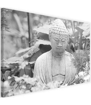 Schilderij Denkende boeddha, 2 maten, zwart-wit, Premium print
