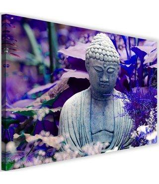 Schilderij Denkende boeddha, 2 maten, paars, Premium print