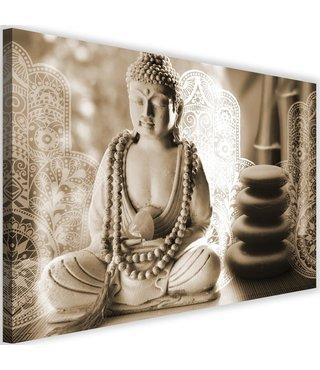 Schilderij Boeddha zen spa, 2 maten, beige, Premium print