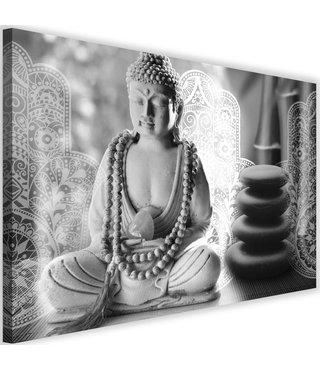 Schilderij Boeddha zen spa, 2 maten, zwart-wit, Premium print