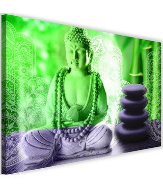 Schilderij Boeddha zen spa, 2 maten, groen/grijs, Premium print