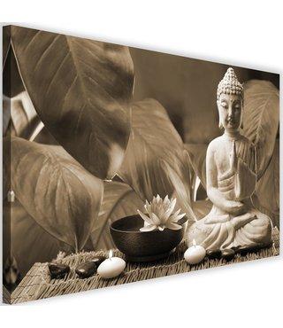 Schilderij Boeddha met lelie, 2 maten, beige, Premium print