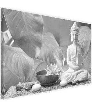 Schilderij Boeddha met lelie, 2 maten, zwart-wit, Premium print