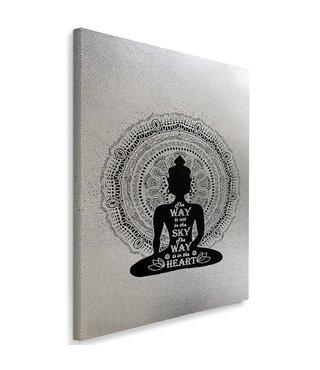Schilderij Boeddha mandala, 4 maten, zwart-wit, Premium print