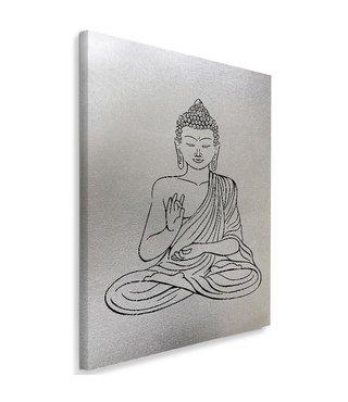 Schilderij Getekende boeddha, 4 maten, zwart-wit, Premium print