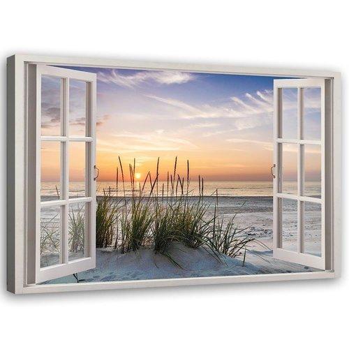 Schilderij Raam op het strand, 2 maten, multi-gekleurd, Premium print
