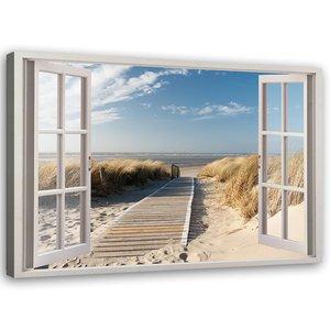 Schilderij Uitzicht op Noordzee, 2 maten, wit/blauw, Premium print