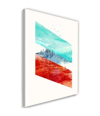 Schilderij Bos land, 2 maten, rood/blauw/wit, Premium print