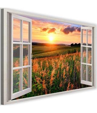Schilderij Uitzicht op landschap, 2 maten, wit raam, Premium print
