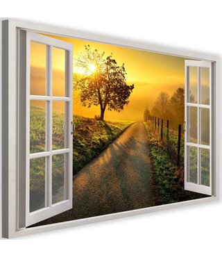 Schilderij Uitzicht op wandelpad, 2 maten, wit raam, Premium print