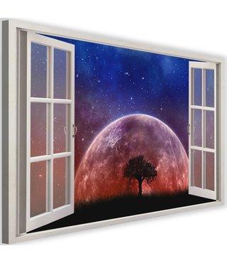 Schilderij Uitzicht op de maan , 2 maten, wit raam, Premium print