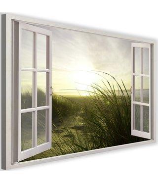 Schilderij Uitzicht op duinen, 2 maten, wit raam, Premium print