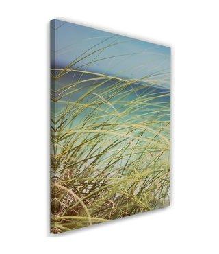 Schilderij Duingras, 2 maten, groen/blauw, Premium print
