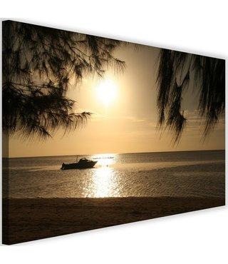 Schilderij Boot aan de kust, 2 maten, sepia, Premium print