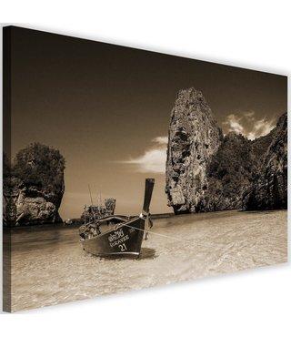 Schilderij Boot aan de kust, 2 maten, bruin, Premium print