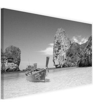 Schilderij Boot aan de kust, 2 maten, zwart-wit, Premium print
