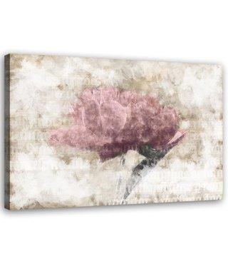 Schilderij Roze abstractie (print op canvas), 2 maten, Premium print