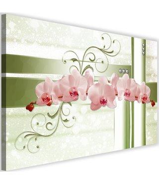 Schilderij Abstracte Orchidee, 2 maten, roze-groen