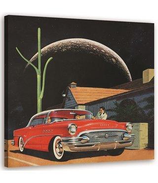 Schilderij Rode auto in maanlicht, 80x80cm