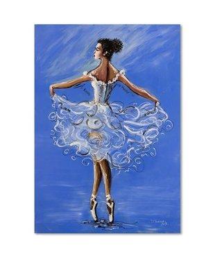 Schilderij Ballerina, 4 maten, blauw-wit-bruin