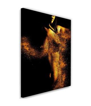 Schilderij Vrouw in stof, 2 maten, goud/zwart