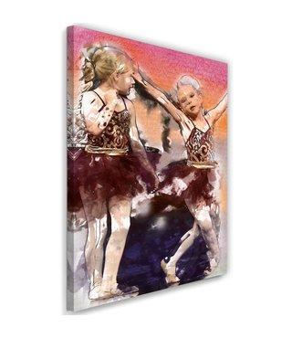 Schilderij twee jonge ballerina's, 2 maten