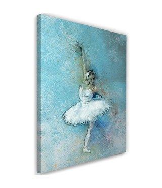 Schilderij Ballerina, 2 maten, blauw/wit