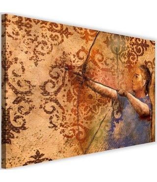 Schilderij Vrouw met pijl en boog, 2 maten, bruin/blauw