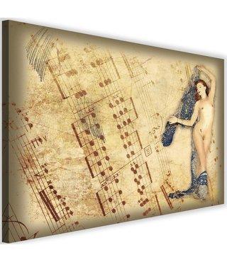 Schilderij Blote vrouw met muzieknoten, 2 maten