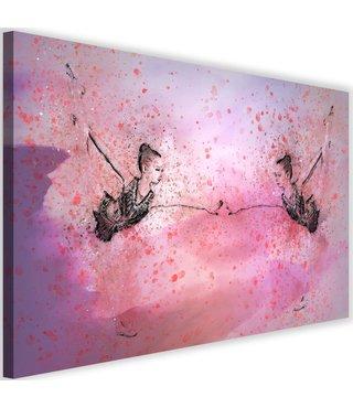 Schilderij Ballerina voor een spiegel, 2 maten, paars/zwart