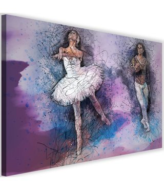 Schilderij Ballet koppel aan het dansen, 2 maten
