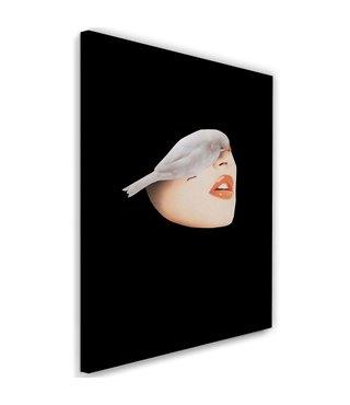 Schilderij Gezicht met witte vogel, 2 maten, zwart/beige