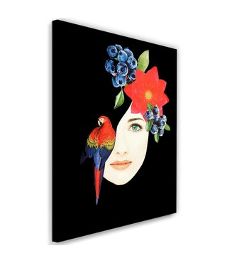 Schilderij Vrouwen gezicht met papagaai, 2maten