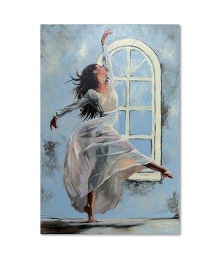 Schilderij Danseres bij het raam, 2 maten, blauw/beige