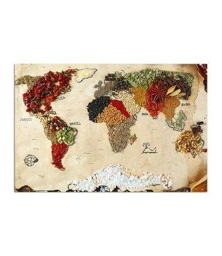 Schilderij Wereldkaart gemaakt met kruiden, 4 maten