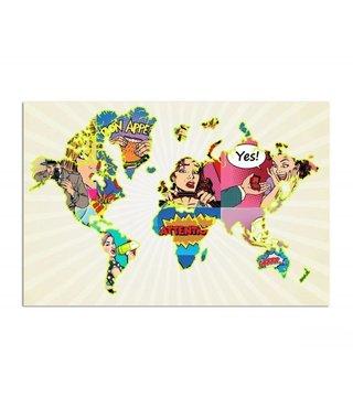 Schilderij Wereldkaart van stripboeken, 120x80cm
