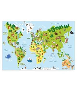 Schilderij Kinder wereldkaart, 4 maten