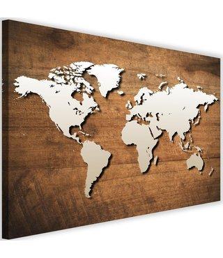 Schilderij Wereldkaart met houten achtergrond, 2 maten, bruin/beige