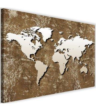 Schilderij Oude wereldkaart, 2 maten, bruin/beige