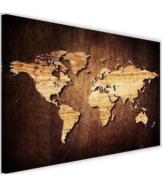 Schilderij Wereldkaart in hout kleur, 2 maten