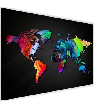 Schilderij Wereldkaart in verschillende kleuren, 2 maten