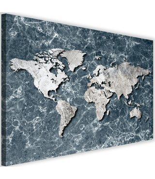 Schilderij Wereldkaart Marmer, 2 maten, grijs/beige