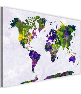 Schilderij Gekleurde wereldkaart, 2 maten